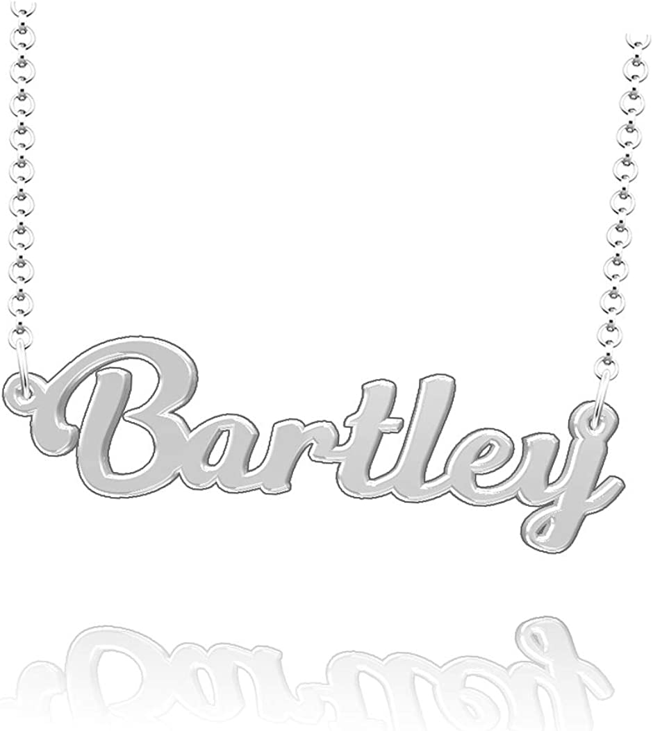 LoEnMe Jewelry Customized Bartley Name Necklace Sterling Silver Plated Custom Made of Last Name Gift for Family