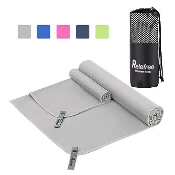 Relefree Toalla de microfibra, toalla deportiva o para el viaje, seco rápido, súper