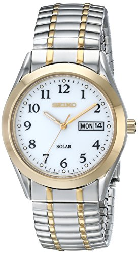 Seiko Men's SNE062 Two-Tone Solar White Dial Watch (Polished White Dial)