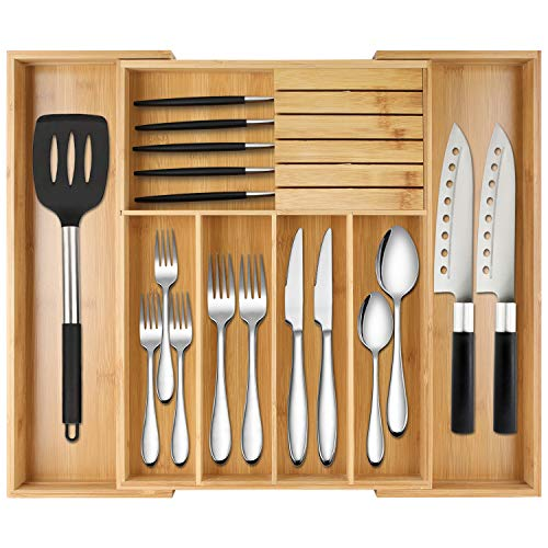 Bamboo Expandable Silverware Holder Drawer Organizer,Kitchen Cutlery And Wooden Utensil Tray Storage Drawers with Divider 13