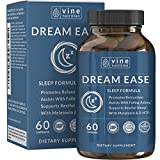 Dream Ease Natural Sleep Aid - Promotes Relaxation | Non-Habit Forming Sleeping Pill With 5-HTP, Melatonin, GABA And More Non-GMO For Men & Women - Vine Nutrition
