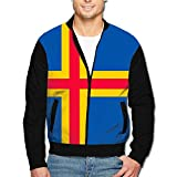 Flag Of Aland Islands Men's Classic Zipper Jacket Coat