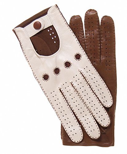Fratelli Orsini Women's Two-tone Leather Driving Gloves Size 7 1/2 Color Cream/Brown by Fratelli Orsini