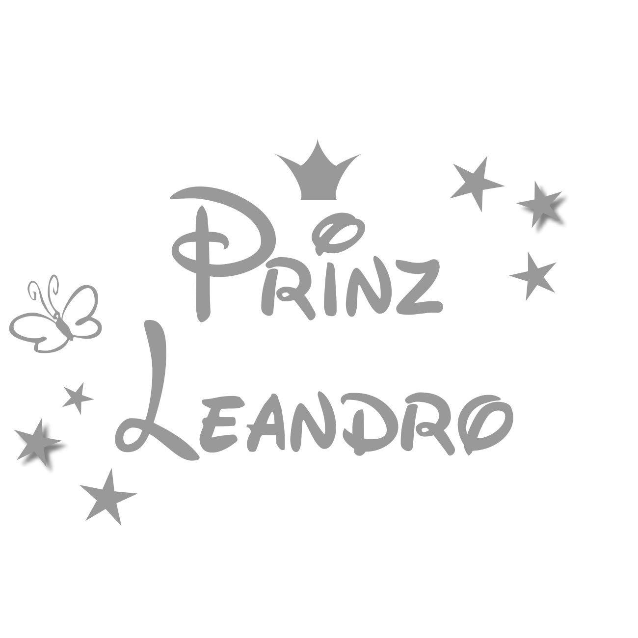 mit Namen Wandtattoo T/ürschild Kinderzimmer Prinz Blau Krone