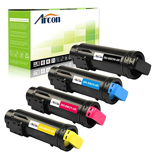 Arcon 4 Pack Black Cyan Magenta Yellow Compatible for Dell H825 H625CDW H825CDW Toner Cartridge Replacement for Dell H625CDW H825CDW S2825CDN Toner Printer (593-BBOW 593-BBOX 593-BBOY 593-BBOZ) (4k Toner Cyan)