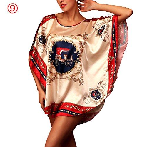 Zhhlaixing Fashion 7050 Women's Satin Blend Robe Wrap Dress Loose Round Neck Gown Bath Sleepwear Pajamas 9