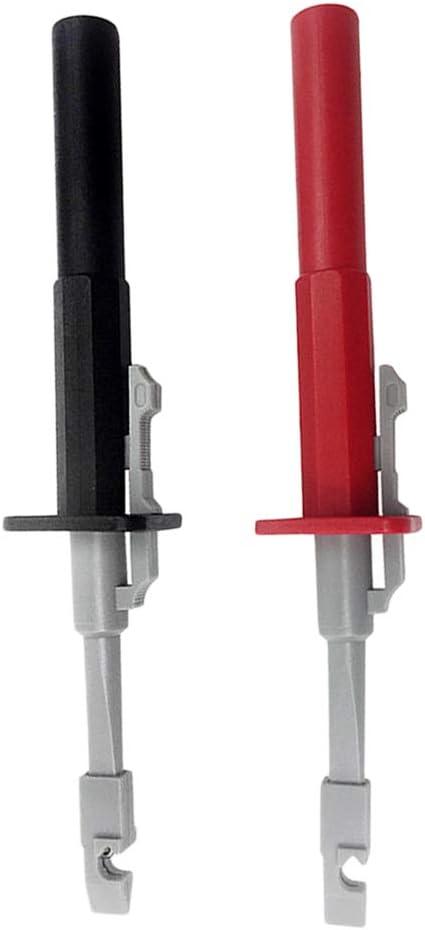Flushzing 2pcs Negro y Rojo de Prueba Pinzas de Prueba Clip de Alambre alambres sondas de perforaci/ón del Aislamiento del Circuito de Coches Detecci/ón Conjunto de Herramientas