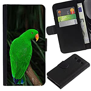 A-type (Parrot Parolee Green Nature Tropics) Colorida Impresión Funda Cuero Monedero Caja Bolsa Cubierta Caja Piel Card Slots Para Samsung Galaxy S3 III I9300