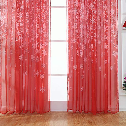 Clearance Sale!DEESEE(TM)1PCS Christmas Snowflake Curtain Tulle Window Treatment Voile Drape Valance 80x200cm (Red)