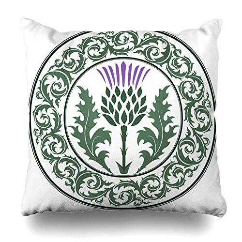 (Ahawoso Throw Pillow Cover Green Scottish Thistle Flower Round Leaf Nature Purple Scotland Heraldic Pattern British Celtic Decorative Pillow Case 16x16 Inches Square Home Decor Pillowcase)
