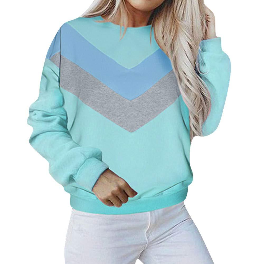 Langarmshirt Damen Bluse Pullover MYMYG Casual Kontrastfarbe Pullover Patchwork Langarm Sweatshirt Top Kurz Sweater MYMYG-39068WOMEN