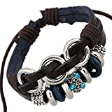 Most Beloved Men Women Retro Leather Bracelet Silver tone tube PU Braid Wristband Crystal Rope Wraps