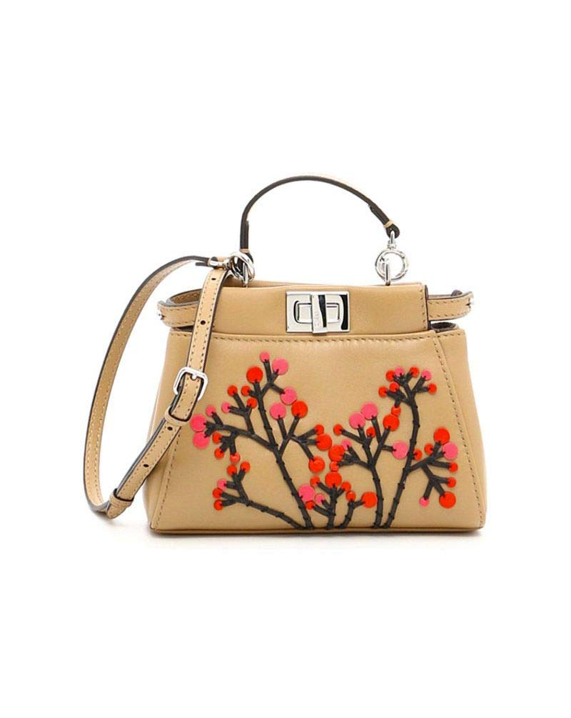 Fendi Women's 8M0355sgbf06qt-Mcf Beige Leather Handbag