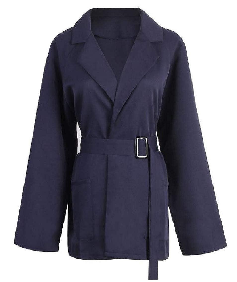 GodeyesWomen Career Elegant Solid Plus-Size Cardi Belted Blazer Jackets