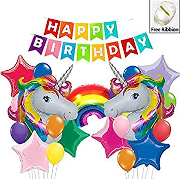 Unicorn Birthday Balloons Party Supplies Kit For Girls Perfect Theme Decorations Set Kids