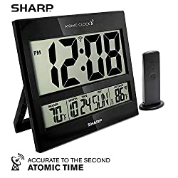Sharp Atomic Clock - Atomic Accuracy - Never Needs Setting! - Jumbo 3 Easy to Read Numbers - Indoor/Outdoor Temperature Display with Wireless Outdoor Sensor - Battery Powered - Easy Set-Up!!