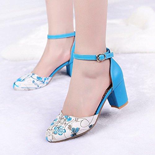 Womens Charm Heel Buckle Print Mid Blue Chunky Elegance Carolbar Ankle Dress Floral Strap Sandals dpwXnq