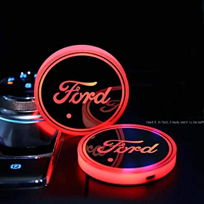 Zhengyong Auto 2PCS LED Car Logo Cup Holder Lights for Ford ,Waterproof Bottle Drinks Coaster Built-in Light 7 Colors Changing USB Charging Car Interior Accessories (Ford): Automotive