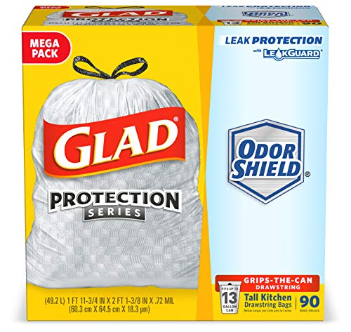 Glad ForceFlex Tall Kitchen Drawstring Trash Bags 13 Gallon Grey Trash Bag, Unscented OdorShield 90 Count (Package May…