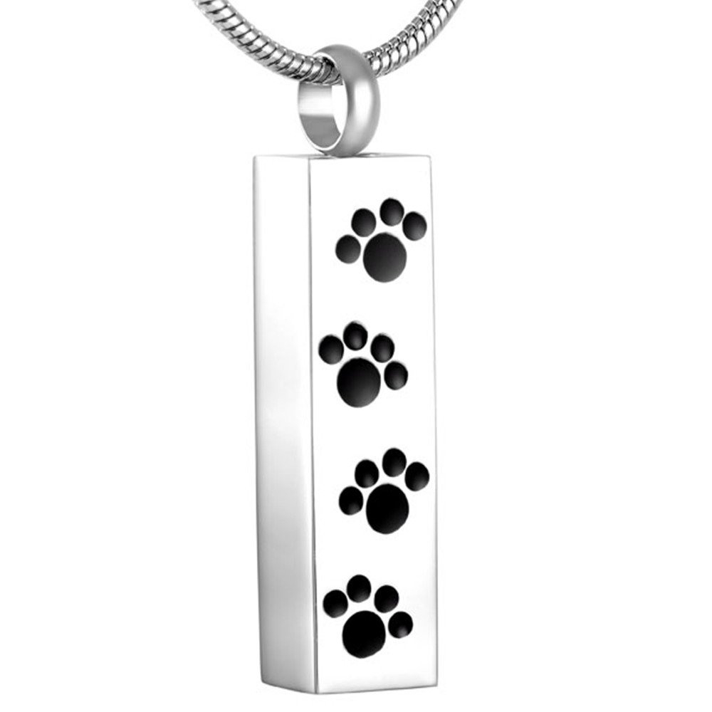SS8600 Paw Etch Bar Memorial Pet Urn Necklace Dog/Cat Cremation Ash Urn Jewelry