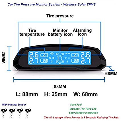 Agway Car Tyre Pressure Monitor System with 4 Internal Sensor, TPMS on