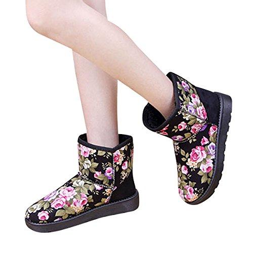 Dear Time Floral Winter Ankle Boots Women Platform Flat Winter Booties Black Fre0p5G