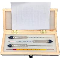 Hydrometer Alcoholmeter Tester Set, Moontie 0-100% Alcohol Concentration Meter, Thermometer Combo Kit of Triple-Scale…