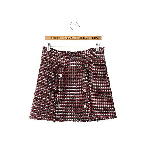 Lokouo 2018 Winter Thick Wool Woven Double Breasted Skirt,M -