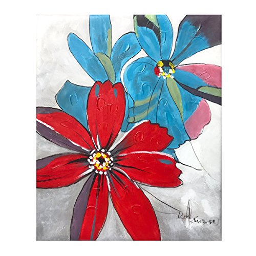 Hand Painted Wall Mural - Oil Painting on Canvas - 100% Hand Painted Modern Artwork Abstract Flowers , Framed for Living Room Bedroom Entrance Mural Wall Decoration (20'' x 24'', Framed) (Flowers04)