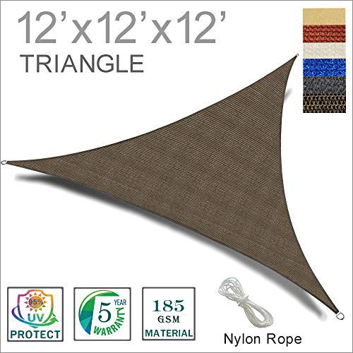 SUNNY GUARD 12' x 12' x 12' Brown Triangle Sun Shade Sail UV Block for Outdoor Patio Garden by SUNNY GUARD