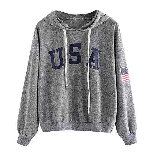 GIFC Women's Hoodie Letter Flag Printed Sweatshirt Long Sleeve Pocket Fashion Ladies Tops Blouses