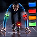 Jowbeam [4 Pack] LED Safety Slap Athletics Armband Wristbands/Bracelets Lights Glow Band for Running,Climping,Jogging,Football,Soccer - Replaceable Battery - 4 Modes