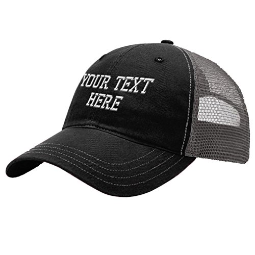 Personalize Your Custom Text On Unisex Adult Snaps Cotton Richardson Unstructured Front and Mesh Back Cap Adjustable Hat - Black/Charcoal, One Size