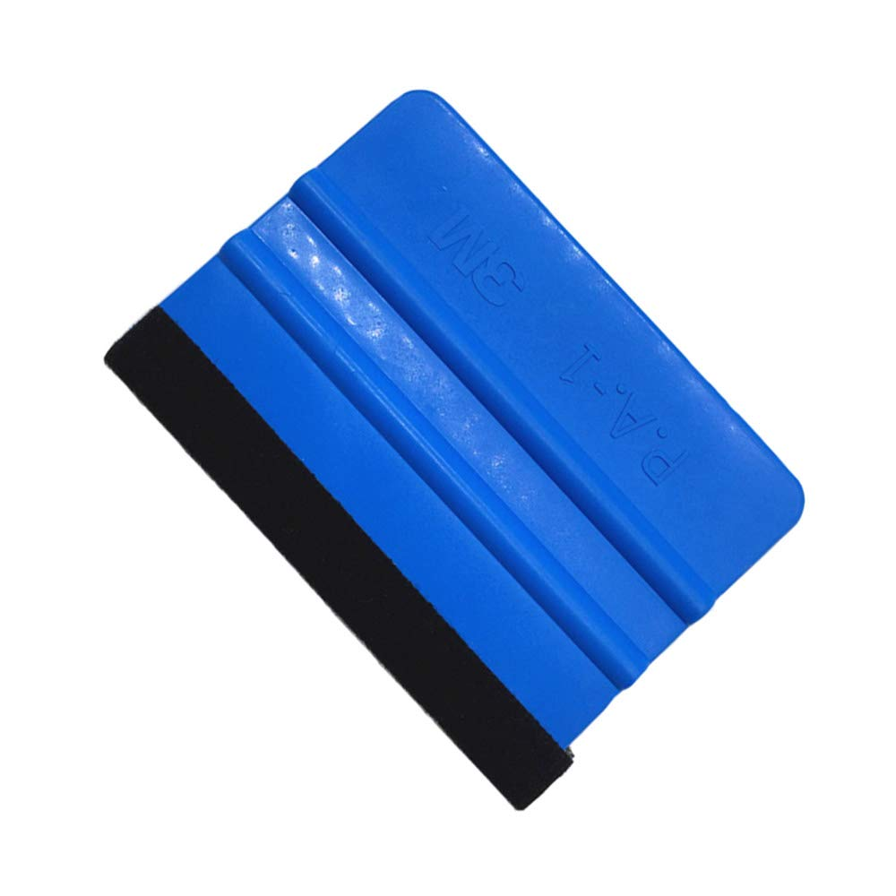 Potelin 1PCS Felt Edge Squeegee For Car Vinyl Scraper Decal Applicator Tool with Black Fabric Felt Edge - Blue PP Scraper
