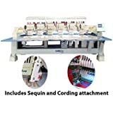 CAMFive CFHS 1506 10H, 6 heads, 15 needle Flat embroidery machine, includes sequin and cording attachment. Free onsite installation & training and unlimited support