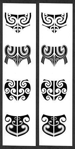 Maori Costumes (Women's Maori Moko Temporary Chin Tattoos / Set of 8)