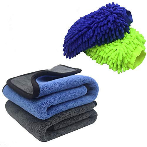 PHIMIITA Waterproof Wash Mitts Gloves Multi Purpose Larger Size with Microfiber Towel Lint Free Premium Cleaning Cloths Absorbent Towels for Car/Home/Office Furniture