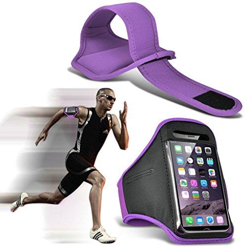 (Yellow) Wiko Selfy 4G Hülle Abdeckung Cover Case schutzhülle Tasche Einstellbare Sport Armband Fall Abdeckung für Laufen Jogging Radfahren Gym By Fone Case® Purple (XL)