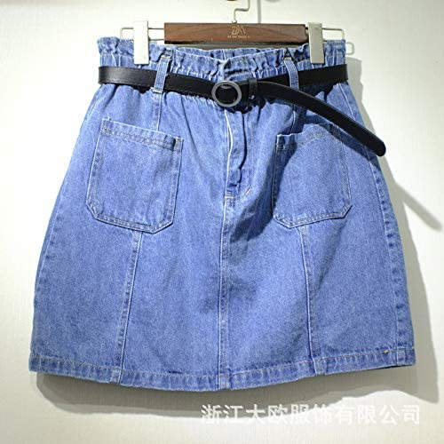 DER Falda De Mezclilla Bolsillo Cintura Suelta Korean Carga Falda ...