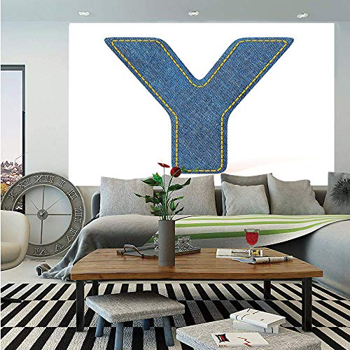 - SoSung Letter Y Removable Wall Mural,ABC of Vintage Fashion Theme Jeans Fabric Denim Texture and Uppercase Y Image Decorative,Self-Adhesive Large Wallpaper for Home Decor 66x96 inches,Blue Yellow
