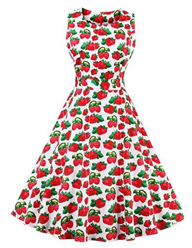 Bestfort Vintage Kleider Damen 50er Retro Mode Rundhals Cocktailkleider  Knielang Ärmellos Festliche Kleine Blumen Rockabilly Kleid 1d3f518d7d