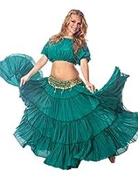 Belly Dance Top, 25 Yard Skirt & Coined Belt Costume Set Spinning Spirit