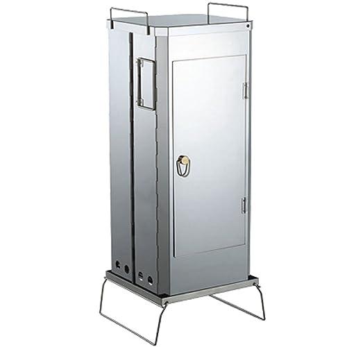 そのデザインからして、アウトドアで使う本格派燻製器です。本体はステンレススチールで、基本的にはバーナーを使わずチップに着火して燻すスモーカーです。高温に弱い素材もバッチリスモークでき、棚は3段、フックも付属しています。もちろんバーナーを使った熱薫も可能です。