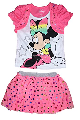 [Disney Minnie Mouse Baby Girl T Shirt and Ruffled Mesh Skirt Outfit - Pink] (Minnie Mouse Outfit For Babies)