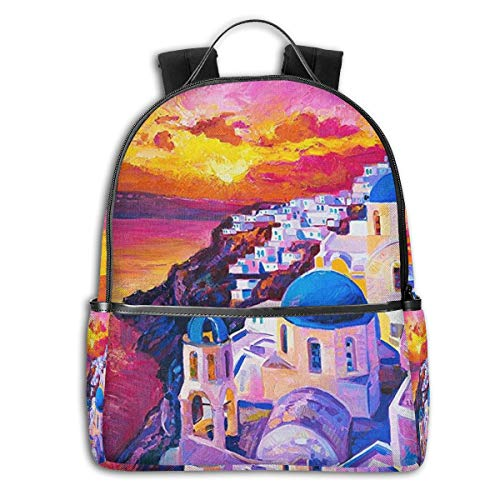 Travel Laptop Backpack, Stylish Schoolbags For Girls And Boys, College Student Daypack Durable Multifunction Leisure Bookbag - Santorini Greece Sunset Painting