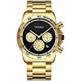 Hemsut Mens Watches Chronograph Analog Waterproof Quartz Watch Business Wristwatch with Stainless Steel Strap (Gold)