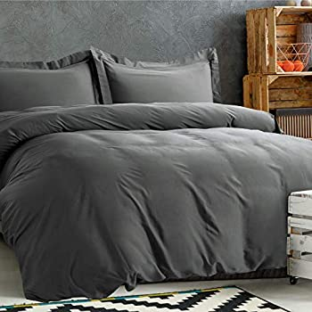 Bedsure 100% Bamboo King Duvet Cover Set - 3 Pieces Set (1 Duvet Cover, 2 Pillow Shams) with Corner Ties and Button Closure Bedding - Hypoallergenic, Breathable and Wrinkle Resistant Comforter Cover
