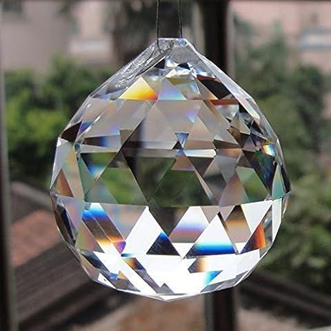 K9 40mm Clear Crystal Ball Prisms Pendant Feng Shui Suncatcher Decorating Hanging (Crystal Prism Pendant)