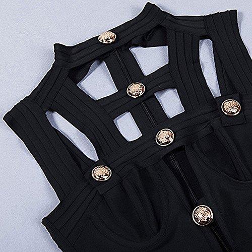 Kunstseide Kleid HLBandage Adorn ärmel Schwarz Verband Fastener Ausschnitt wggOUqf8