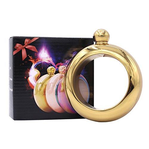 Dernord Bracelet Flask,Stainless Steel 304 Bangle Fashion Flagon Innovative Wine Hip Flask (Gold)